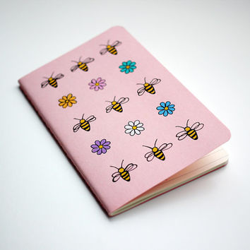 Bees and Flowers Notebook, Nature Pocket Journal, Illustration, Hand Drawn, OOAK