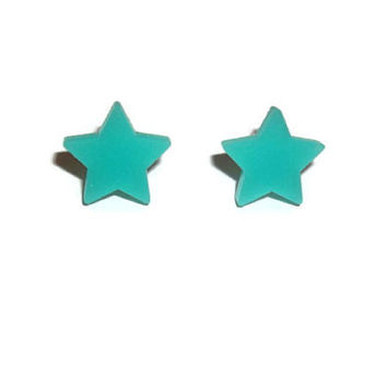 Jade Green Star Earrings, Kawaii Cute Fairy Key Dainty Stud Earrings