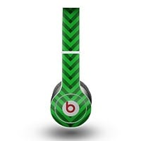 The Green & Blue Leveled Chevron Pattern Skin for the Beats by Dre Original Solo-Solo HD Headphones