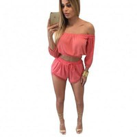 Slash Neck Pink Two Pieces Adult Women Rompers and Jumpsuits 2016