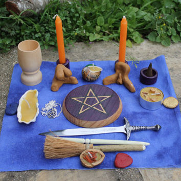 Complete portable pagan altar kit, duluxe travel altar in a box, small altar set, travel altar chest, wiccan ritual tools, *mature content*