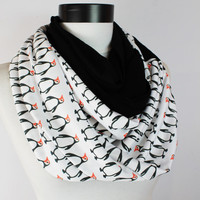 Penguin infinity scarf,Loop scarf. Circle scarf. Women Scarf. Gift. ,Scarves, scarf, infinity scarf,Winter Scarf,