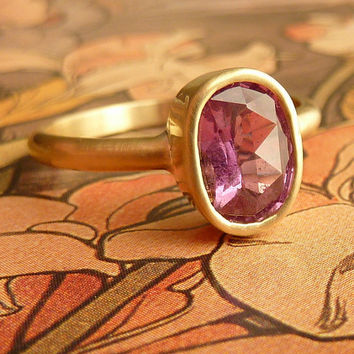 Rose Cut Pink Oval Sapphire Ring