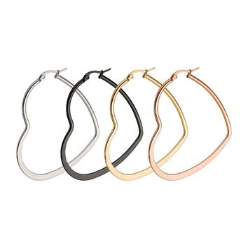 Heart Shaped Large Hoop Earrings Rose Gold Color Stainless Steel Tiff Round Circle Hyperbole Earrings Nightclub Jewelry