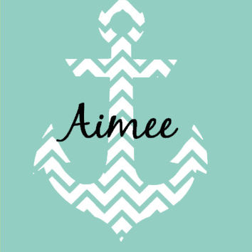 Large Chevron Anchor Personalized Wall Decal Nautical Girls Room