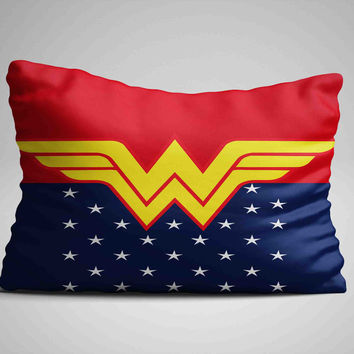 "Wonder Women Logo Custom Zippered Pillow Case 16""x 24"" - Two sides cover"