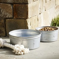 Galvanized Metal Pet Bowl
