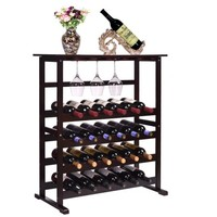 New 24 Bottle Wood Wine Rack Holder Storage Shelf Display w/ Glass Hanger - Walmart.com