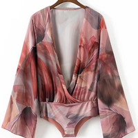 Abstract Print Surplice Plunge Neckline Bodysuit -SheIn(Sheinside)