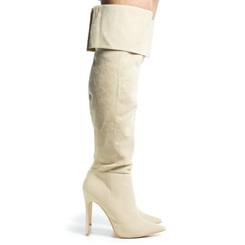 Sola Nude By Shoe Republic, High Heel Knee High Dress Boots w/ Elastic & Foldable