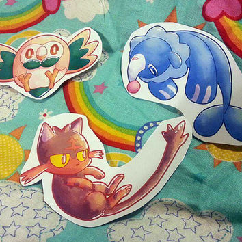 Pokemon Sun & Moon Stickers - Rowlet, Popplio and Litten!