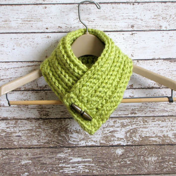 Ladies Scarf, Chunky Crochet Scarflette, Lime Green Neckwarmer, Women's Winter Accessory