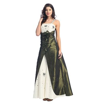 CLEARANCE - Olive 2 Color Formal Dress Embroidered Bodice (Size XS, S)