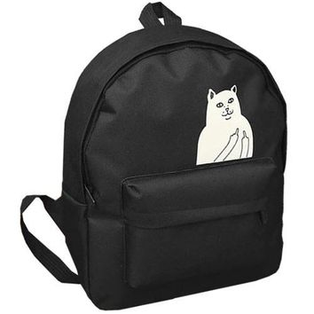 NOT SAFE FOR WORK Cat Printed Canvas Backpack