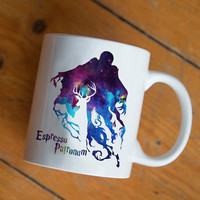 expecto patronum harry potter in galaxy mug Design by mugxagrip cup, white mug two face