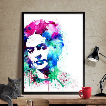Frida Kahlo Watercolor Painting, Frida Kahlo Art, Wall Art Poster, Frida Kahlo Decor, Art Print, Frida Kahlo Print, Celebrity Portraits(140)