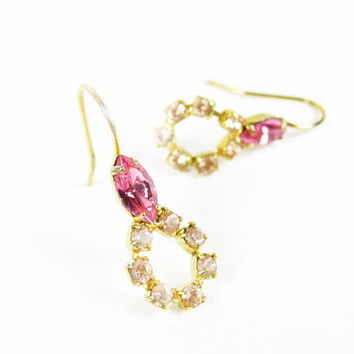 Vintage Pink Rhinestone Earrings, Gold Tone, Bridal / Vintage Wedding - Boucles d'Oreilles.