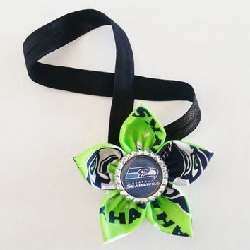 Seattle SeaHawks Headband, Toddler and Newborn Football Headband, Blue and Green SeaHawks Hair Accessory, SeaHawks Baby, Seahawks Hairbow