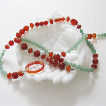 Jay King Aventurine & Carnelian Bead Necklace Desert Rose Trading DRT Retired QVC