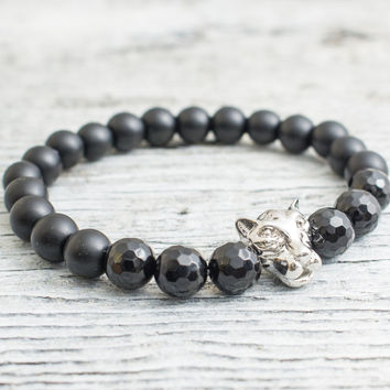 Matte black onyx and faceted black onyx beaded silver Leopard head stretchy bracelet, yoga bracelet, mens bracelet, womens bracelet