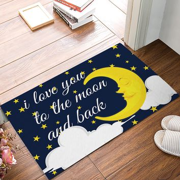Autumn Fall welcome door mat doormat Fabric & Non-Slip s - Starry Night I Love You To The Moon and Back Decorative  Indoor/Outdoor  AT_76_7