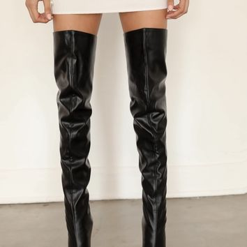 Isla Faux Leather Thigh High Boots