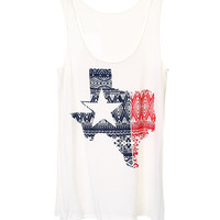 Texas Aztec Print Tank White *MADE IN USA!*