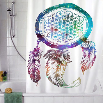 "bring me the horizon dream catcher galaxy christmas gift,Shower curtain, Sizes available 36""w x 72""h 48""w x 72""h 60""w x 72""h 66""w x 72""h"