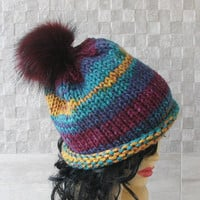 Oversized Beanie Knitted Hat for Women Winter Pom Pom Hats Hat Slouchy Beanie  Knit Hats Womens Super Chunky Knit