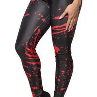 Black with Red Blood Splatter Leggings Design 563