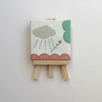 Acrylic Cloud and Kite  Painting on Mini Canvas with a miniature easel