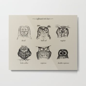 Caffeinated Owls Metal Print by Dave Mottram