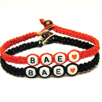 Couples or Friendship Bracelets, BAE, Red and Black Macrame Hemp Jewelry