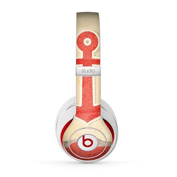 The Scratched Vintage Red Anchor Skin for the Beats by Dre Studio (2013+ Version) Headphones