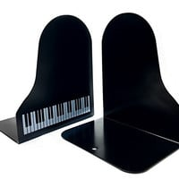 """Black Big 7"""" Pair Piano Music High Note Nonskid Library School Office Home Study Metal Bookends Art Bookend Kitchen Book Shelf Bookends Gift ideal"""