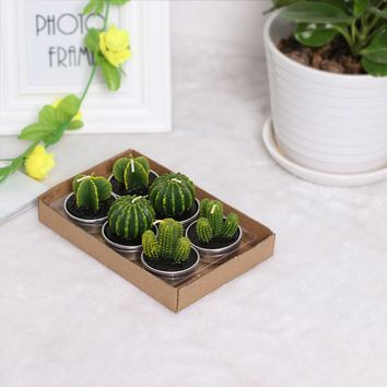 6PCS Creative Home Decor Cactus Candle Table Tea Light Green Candles For Wedding Decoration