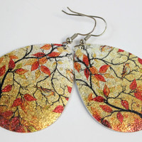 Large Metal Teardrop Dangle Earrings in Fall Colors - Long Earrings - Big Earrings - Handmade Jewelry - Ready to Ship