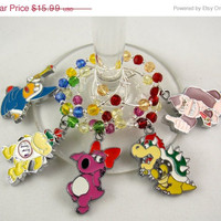Super Mario inspired geeky wine glass charms Set of 5 video game charms handmade wine charms party wine charms