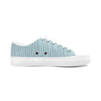 Blue Stripes Theme White Base Women's Nonslip Canvas Shoes