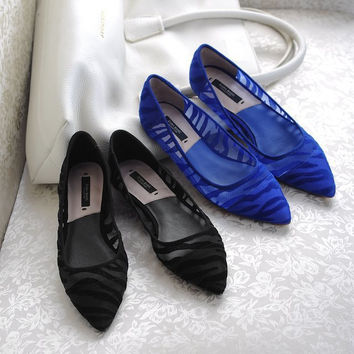 Flat Pointed Toe Hollow Out Stylish Shoes [4918348996]