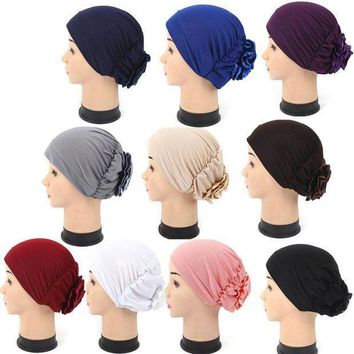 ESBG8W KLV  Women summer cap Muslim Turban Cap Ruffle Tripe Hat Chemo therapy Hat Fashion Headwear for Women Head Wrap Cap hot sales