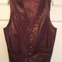 Vintage J. Riggings Men's Leather Vest, Size 42, Western Leather Vest, Cowboy Attire, Burgundy Leather Vest, Made in Hong Kong