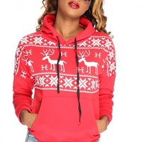 Red White Christmas Print Casual Sweater