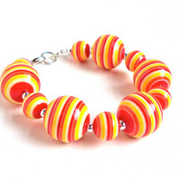 Chunky beaded bracelet - orange, red and yellow striped large bead bracelet - bright colorful mod summer bracelet - by Sparkle City Jewelry