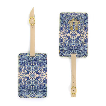 Luxury Leather Luggage Tag - Blue & White Tile