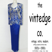 vintage // deco trophy bead sequin blue silver silk wiggle party dress gown
