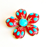 1950s HAR Flower Brooch Vintage Daisy Pin Red Turquoise & Gold Brooch