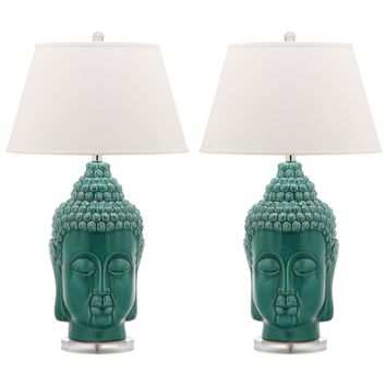 Set of 2 Tall Teal Buddha Table Lamps