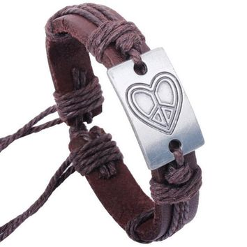 Heart shape Leather Bracelets Unisex Bracelets Cowhide Bracelets Wrist Chains