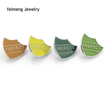 6 Colors Enamel Prefect Shield-shaped Pins And Brooches For Women Men Badge Casual & Sporty Fashion Brooches Jewelry Gift